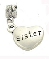 Wholesale Happy Days Tv - Happy elves like my sister forever love in my heart from dad mom brother family number pandora pendant heart bead for Necklace bracelet