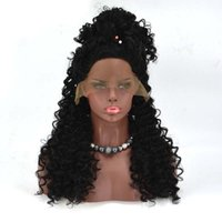 Wholesale Good Cheap Lace Front Wigs - Afro Kinky Curly Wig Synthetic Lace Front Wig for Black Women Kinky Curly Synthetic Wig Heat Resistent Cheap Good High Quality