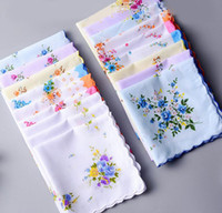 Wholesale Wedding Cutter - 100% Cotton Handkerchief Towels Cutter Ladies Floral Handkerchief Party Decoration Cloth Napkins Craft Vintage Hanky Oman Wedding Gifts SF35