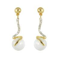Wholesale Create Female - New Created Pearl Earrings Stud Jewelry Long Gold Alloy Rhinestone Hanging Drop Earrings Female Women Bijoux