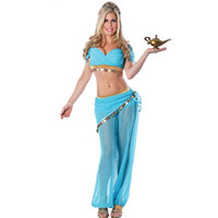 Wholesale Arabian Nights - 2017 sexy costumes women for adult Womens Jasmine Or Belly Dancer Arabian Nights Costume Princess Genie Halloween Costume free size V87480