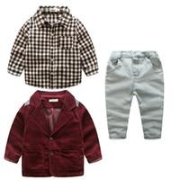 Wholesale jeans jacket wear - Boys clothes jeans wear clothes kids suits children boys jacket+plaid shirt+denim pants 3pcs Clothing Set 5s l