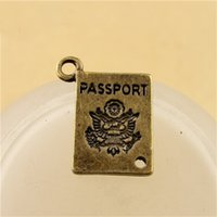Wholesale Vintage Craft Books - Vintage Antique Bronze Charms Book Passport Handmade Craft Pendant Making Fit DIY Bracelet Necklace Jewelry 16*12MM