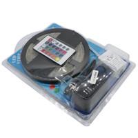 Wholesale M Bulb - Waterproof LED RGB Strip Light SMD 3528 IP65 Light 60LED M 5M + Remote Controller +DC 12V Adapter Power RGB Lamp Bulb