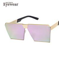 Wholesale wholesale frameless mirrors - Wholesale-BOUTIQUE Men Sunglasses Brand Designer Flat Top Big Square Mirror Sun Glasses Women Cat Eye Fashion Retro H1687