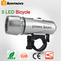Wholesale Power Beam Bike - Bike Bicycle 5 LED Power Beam Front Cycling Lights Head Light Torch Lamp 5 LED Headlight Headlamp Flashlight Flash light Torch Energy Saving