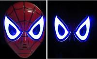 mascara de led para niños al por mayor-GLOW In The Dark LED Spider Man Mask Disfraz de Halloween Teatro Prop Novedad Maquillaje Juguete Niños Niños Favorito