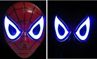 Wholesale Make Led Costumes - GLOW In The Dark LED Spider Man Mask Halloween Costume Theater Prop Novelty Make Up Toy Kids Boys Favorite