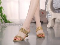 Wholesale Small Yards Sandals - Big yards Diamond Cool Slippers Women Low With Slippers In The Sandals Bright Crystal Shoes Small Code 33 Large Yards 40 Yards 41 42 43