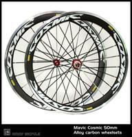 carbon fahrrad räder legierung bremsfläche großhandel-Neu! 700C cosmic painting 50mm Drahtreifen Felge Rennrad 3K Carbon-Fahrrad-Laufradsatz mit Alu-Bremsbelag Carbon-Laufrädern