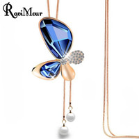 Wholesale Gold Butterfly Pendant Necklace - RAVIMOUR Butterfly Maxi Necklace Women Fashion Imitated Pearl Jewelry Statement Necklaces & Pendants Crystal Gold Long Necklace