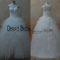 Wholesale Organza Dress Ruffle Designer - Real Images Ball Gowns 2016 Designer Bridal Gowns Multi Layers Skirt White Wedding Dresses With High Neck and Sheer Bodice and Ruffled Skirt