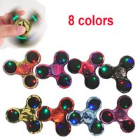 Wholesale Wholesale Lighted Cross - 2017 LED Camouflage Hand Spinners Light Up Camouflage Fidget Spinner Gyro Cross Style EDC Decompression Toys Torqbar Handspinner OTH428