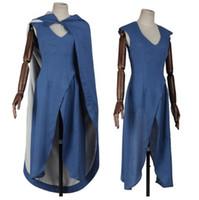 Wholesale Dress Dragons - Game of Thrones Targaryen Daenerys Cosplay Costume The Unburnt Mother of Dragons Costume Blue Dress Female Halloween Adult Women