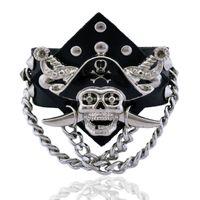 Wholesale Woman Pirate Caribbean - Retro Pirates Of The Caribbean Wide Bracelet Vintage Women Mens Genuine Leather Skull Rivet Wide Adjustable Bangle Bracelet Male Jewelry