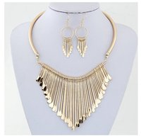 Wholesale Ladies Simple Necklace - 100%Metal Earrings Necklace Set For Women Simple Alloy Tassel Short Necklaces Lady Party Jewelry Accessories Gold Silver Pendant Necklace