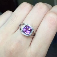 Wholesale Emerald Cut Amethyst Ring - Engagement princess ring 8*8mm emerald cut natural amethyst ring for girl pure 925 silver ring classic silver sterling jewelry