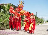 Wholesale Dragon Mascot Purple - New loong costume children size red silk print fabric CHINESE Kid DRAGON DANCE Folk Festival Celebration Costume dragon mascot costume