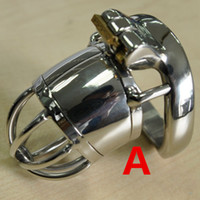 Wholesale Stainless Steel Chastity Belt Tube - Stainless Steel Male Chastity Cage Catheter Tube Anti off Ring Small Cage Steel Cock Cage Chastity Device Sex Products for Men Game G197