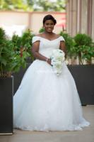Wholesale backless corset for wedding dress resale online - White Off the Shoulder Lace Appliques Beadings Wedding Dresses Plus Size Long Back Bridal Dress Lace Up A Line Corset Gowns for Wedding