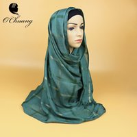 Novelty black hijabs - Gold Line Shimmery Cotton Muslim hijab islamic Women Check hijab jersey scarf hijabs shawls plaid scarves Headscarf CF