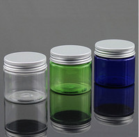 Vente en gros - 50ml Transparent Cosmetic Pot En Aluminium Cap En Plastique Containers Petite Lotion Bouteilles Jars Empty Refillable Clear Box Pot