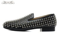MBL999G Taille 36-46 Hommes Femmes Noir Cuir Avec Spikes Silver Slip On Round Toe Mocassins De Mode, Gentleman Comfort Wedding Party Dress Chaussures