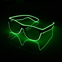 Wholesale El Wire Purple - LED-EL-Wire-Glasses-DJ-Nightclub-Party-Light-Up-Glow-Sun-glasses-Eyewear-Shades luminous glass without battery