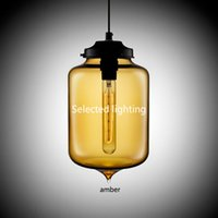 Wholesale Contemporary Glass Shade Pendant Light - Loft Vintage Antique Industrial Colorful Glass Shade Pendant Lights Fixtures for Kitchen Restaurant Dining Living Room Cafe Bar
