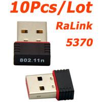 adaptador wifi usb ralink al por mayor-Al por mayor-AL POR MAYOR 10Pcs / Lot Mini Ralink 5370 150Mbps Adaptador inalámbrico WiFi USB Adaptador de tarjeta de red LAN para SKYBOX / Openbox / STB