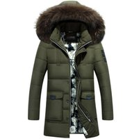 Wholesale Longer Down Jackets For Men - Wholesale- New style 2016Thick Warm Winter duck Down Jacket for Men Waterproof Fur Collar Parkas Hooded Coat high quality Western style