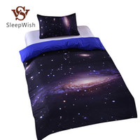 Wholesale Cheap Single Sheets - Wholesale-Hipster Galaxy Bedding Set Universe Outer Space Themed Galaxy Print Bedlinen Sheets Twin Single Double Full Cheap Hot