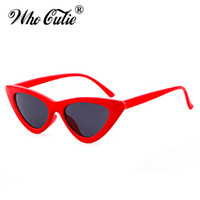 Wholesale Cateye Glasses Frames - 2018 Triangle Small Cat Eye Sunglasses Sexy Women Ocean Film Lens Classic Cateye Frame Black Red Tint Sun Glasses Polit Optical Shades