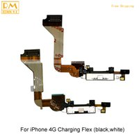 Wholesale Replacement Usb Dock Iphone 4s - Original 5pcs lot For iPhone 4G 4S USB Dock Charging Port Flex Cable Slot Charger Connector Board Ribbon Repair Replacement Phone Parts