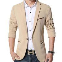 Wholesale Fit Suite - Wholesale- New Slim Fit Casual jacket Cotton Men Blazer Jacket Single Button Gray Mens Suit Jacket 2017 Autumn Patchwork Coat Male Suite