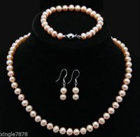 """Wholesale Culture Heart - Free Shipping ****Natural 9-10MM Pink Akoya Cultured Pearl Necklace 18"""" Bracelet Earrings Set"""