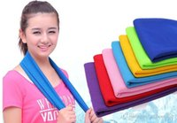 Wholesale Blue Cold Hands - 500pcs Hot New Arrival Magic Ice Towel 90 * 38 cm Multifunctional Cooling Summer Cold Sports Towels Cool scarf Ice belt For Children Adult