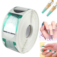 Wholesale Acrylic Nail Extensions - 500pcs roll Pro Green Horseshoe Shape Nail Art Tip Nails Extension Form Roll Acrylic Curve Gel Guide Stickers JCA0056