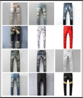 Wholesale Cheap Quality Mens Pants - Wholesale Hot Selling Fashion Casual Men Biker Jeans Denim Straight Pants Cheap High Quality Ripped Mens Jeans Runway Vintage Trousers