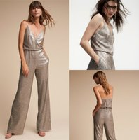 Wholesale Cheap Jumpsuits For Women - New Fashion BHLDN Shiny Jumpsuit Cheap For Women Formal Occasion Grey Sequined Sparkling Spaghetti V Neck Custom Made Outfit