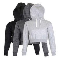 Wholesale Women Full Briefs - Wholesale- Full Hoodie Coats New Brief Casual Clothes Women Women Ladies Clothing Tops Plain Crop Top Hooded