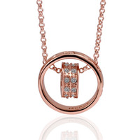 Wholesale Gemstone 18k Ring Jewelry - Hot sale women's Hanging ring 18k gold jewelry pendant necklace WGN029,A++ Rose gold white gemstone Necklaces with chains