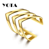 Wholesale Wholesale Titanium Ring Bulk - Masonic Ring Adjustable Open Double Rings 316L Titanium Gold Plated Geometry R195 for Woman Man Party Bulk Statement Jewelry