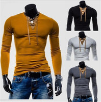 Wholesale cool compression - New Men Compression Top Henley Neck Long Sleeve Casual Cool Male Tee T-Shirts Fashion Man Tee Blouse