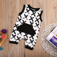 Wholesale baby boys white romper suit resale online - Baby Boys Romper Suit Toddler Outfit Sleeveless Jumpsuit Cotton Baby Pajamas Sport Tracksuit Infant Kids Clothes Playsuit Boutqiue Clothing
