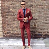 ingrosso argento ruggine-Vestito da uomo su misura Rust Red Custom Due pezzi da smoking da sposa Slim Fit Groom Abiti formali (giacca + pantaloni)