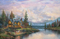 Wholesale Mountain Wall Painting - Cathedral Mountain Lodge Thomas Kinkade Oil Paintings Art Wall HD Print On Canvas Home Decoration No Frame