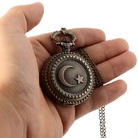 Wholesale Quartz Pocket Watch Moon - Cindiry Retro Bronze Antique Star & Moon Quartz Pocket Watch Pendant Necklace Fob Watches Chain Clock relogio de bolso