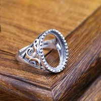 Wholesale Art Nouveau Silver - 13x18MM Oval Cabochon Semi Mount Engagement Ring Filigree Silver 925 Art Nouveau Fine Silver Ring Setting