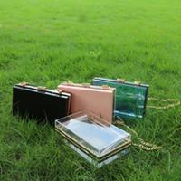 Wholesale Women Transparent Trunk - Rectangle ABS Shoulder Bag Clear Crossbody Bag With Metal Chain Gameday Handbag Crossbody Clutch Purse DOM106563